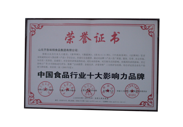 中国食品行业十大影响力品牌